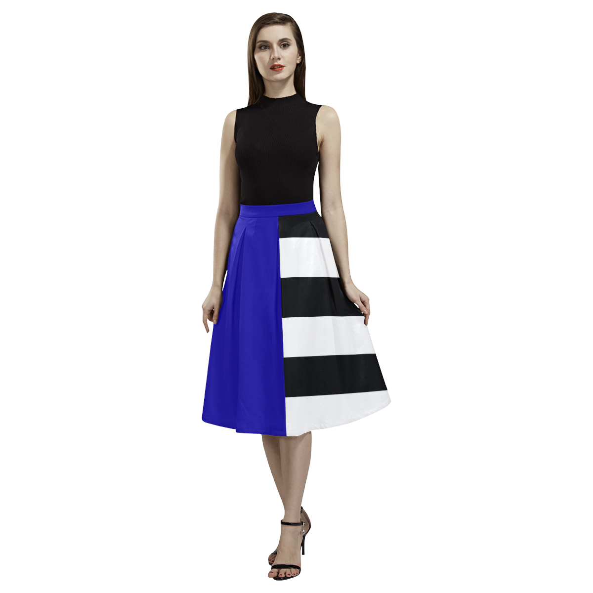 Blue and Stripes Mixed Print Aoede Crepe Skirt (Model D16)