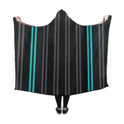 Gray/Aqua Stripes on Black Background Hooded Blanket 60''x50''