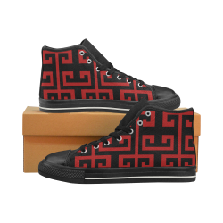 Classic Red Men's Classic High Top Canvas Shoes (Model 017)