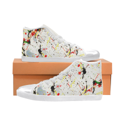 Yellow & Black Paint Splatter - White High Top Canvas Women's Shoes/Large Size (Model 002)