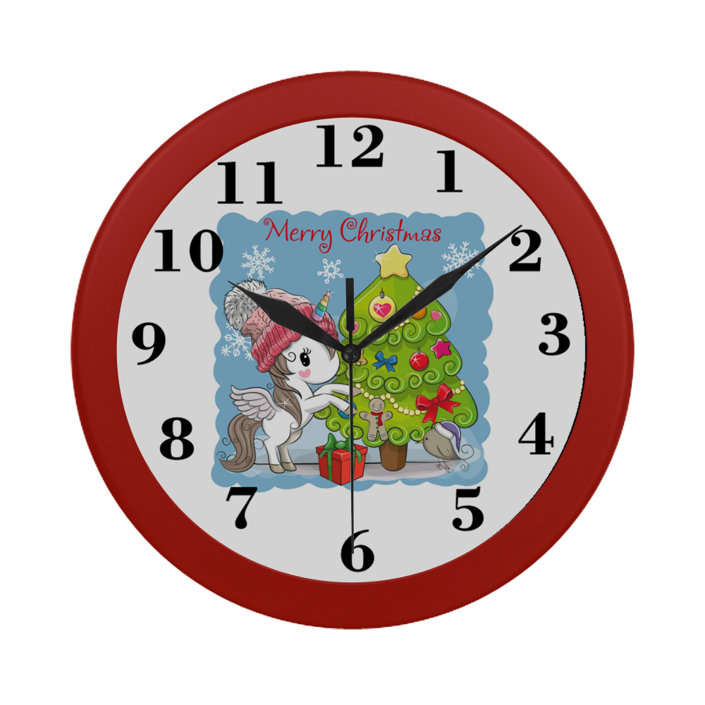 Merry Christmas Unicorn Circular Plastic Wall clock