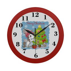 Merry Christmas Unicorn Circular Plastic Wall clock