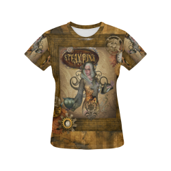 Steampunk lady with owl All Over Print T-Shirt for Women (USA Size) (Model T40)