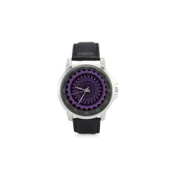 mandala purpura chakra sahasrara:aporta conexión espiritual atrae el amor Unisex Stainless Steel Leather Strap Watch(Model 202)