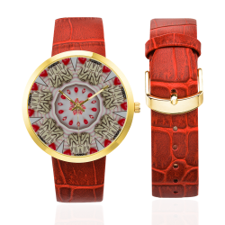 Love and Romance Pastries Cookies and Heart Candie Women's Golden Leather Strap Watch(Model 212)