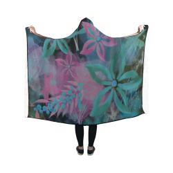 Flower Pattern - black, teal green, purple, pink Hooded Blanket 50''x40''