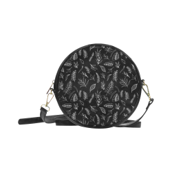 BLACK DANCING LEAVES Round Sling Bag (Model 1647)