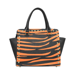 Tiger Stripes Black and Orange Rivet Shoulder Handbag (Model 1645)