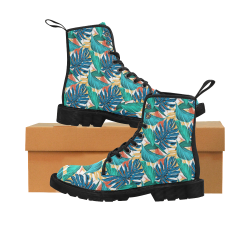 Tropical Jungle Leaves Martin Boots for Women (Black) (Model 1203H)