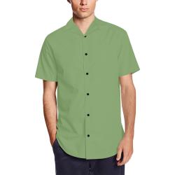 color asparagus Men's Short Sleeve Shirt with Lapel Collar (Model T54)
