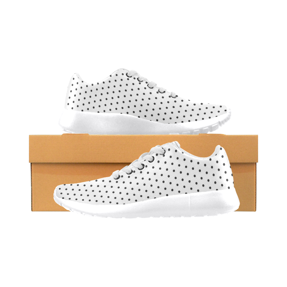 Polka Dot Pin White by Jera Nour Women's Running Shoes/Large Size (Model 020)