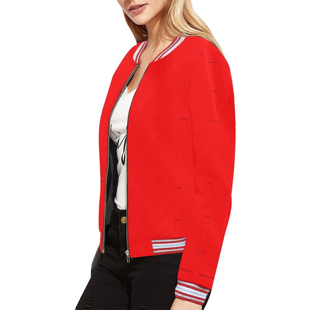 Scarlet Panels All Over Print Bomber Jacket for Women (Model H21)
