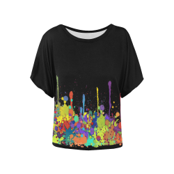 Crazy Multicolored Running Splashes II Women's Batwing-Sleeved Blouse T shirt (Model T44)