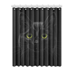 "Black Cat Window Curtain 52"" x 63""(One Piece)"