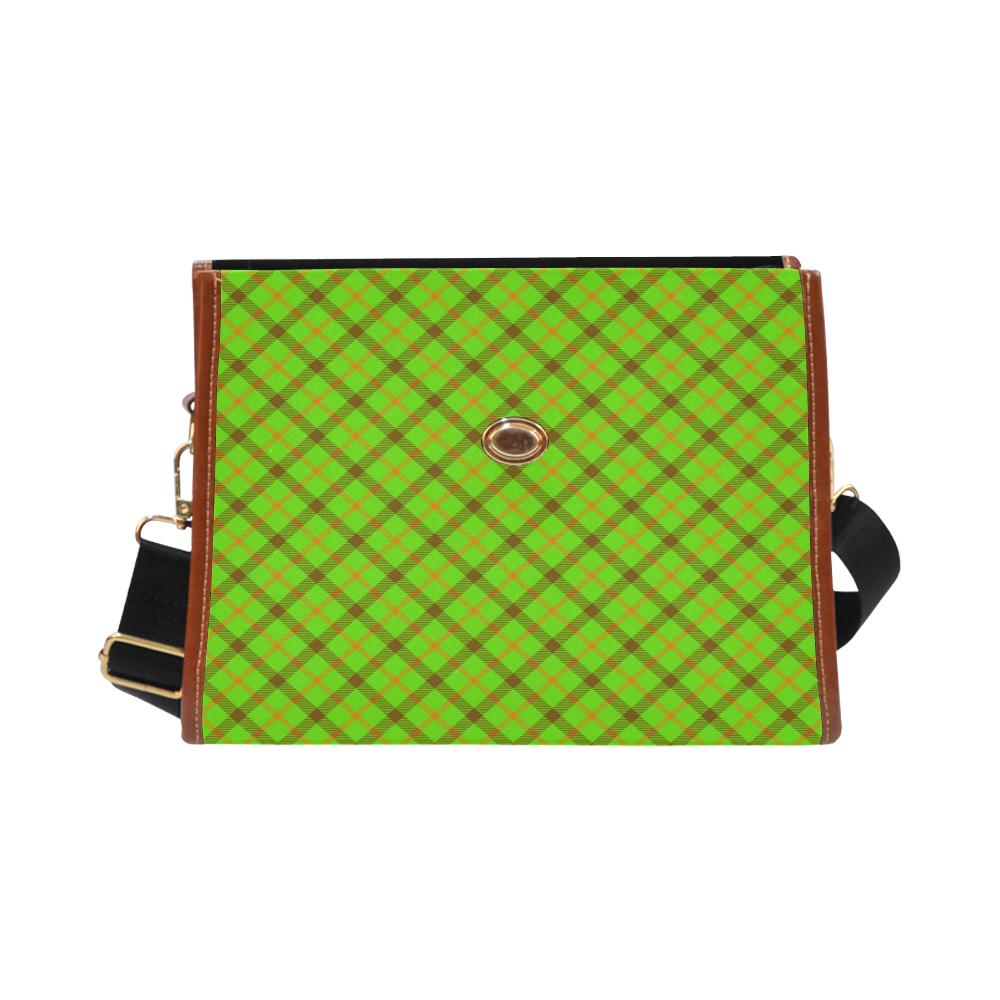 Plaid 1 Green, Orange, Brown Tartan Waterproof Canvas Bag/All Over Print (Model 1641)