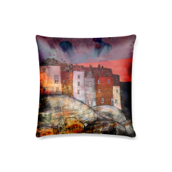 """houses by the sea by agnes laczo colorful art pillow case Custom Pillow Case 16""""x16""""  (One Side Printing) No Zipper"""