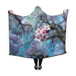 Cherry blossomL Hooded Blanket 60''x50''