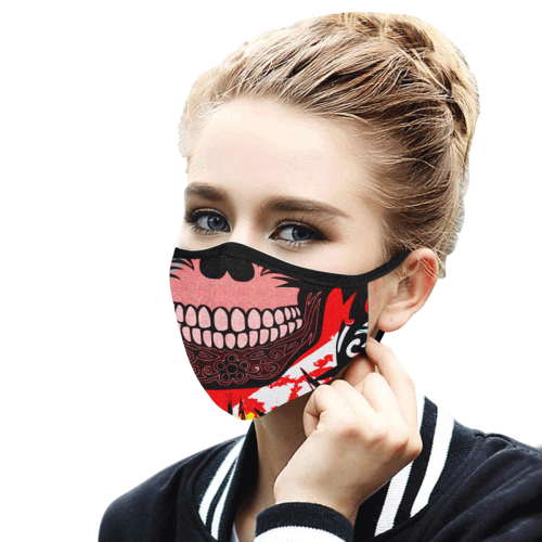 SKULL SMILE RED 3D MASK Mouth Mask in One Piece (2 Filters Included) (Model M02) (Non-medical Products)