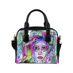 Abstract Girl Shoulder Handbag (Model 1634)