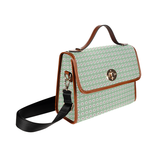 Daisy Mint Waterproof Canvas Bag/All Over Print (Model 1641)