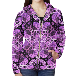 Pink/Black Fractal Pattern All Over Print Full Zip Hoodie for Women (Model H14)