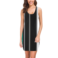 Teal black and white stripes vertical Medea Vest Dress (Model D06)