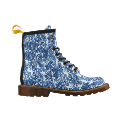 Digital Blue Camouflage High Grade PU Leather Martin Boots For Women Model 402H