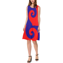 Mod Hippie Red and Blue Curlicue Swirls Sleeveless Splicing Shift Dress(Model D17)