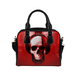 Cool Skulls Deep Red Metallic Shoulder Handbag (Model 1634)