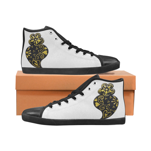 Black and gold Heart Women's High Top Canvas Shoes (Model 002)