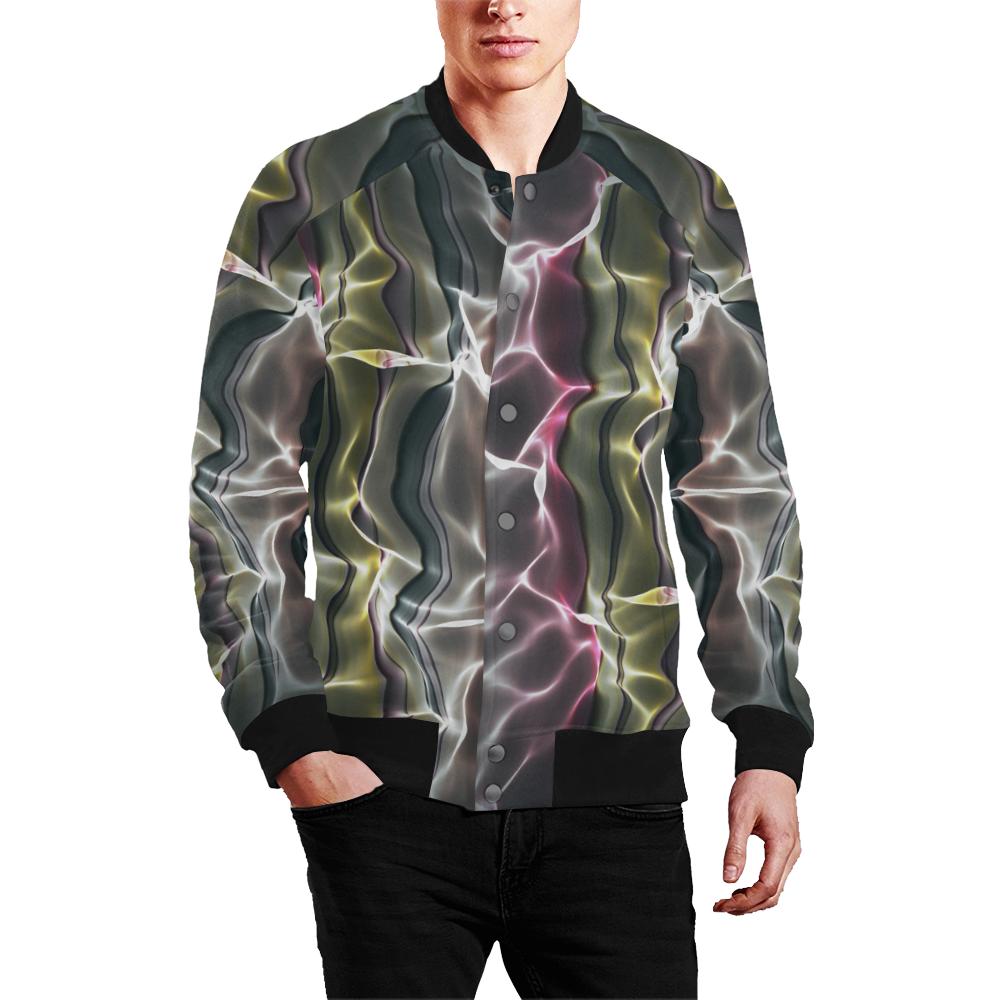 Abstract Wavy Mesh Men's All Over Print Baseball Jacket (Model H26)