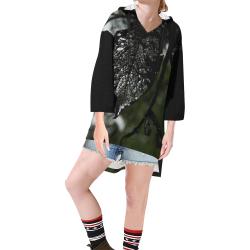 Beauty in the Dark Step Hem Tunic Hoodie for Women (Model H25)
