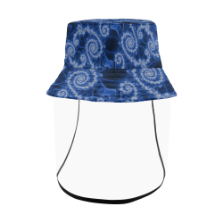 Delicate Blue White Lace Fractal Abstract Women's Bucket Hat (Detachable Face Shield)