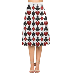 Las Vegas Black and Red Casino Poker Card Shapes on White Aoede Crepe Skirt (Model D16)