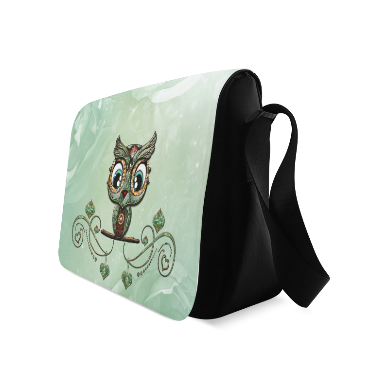 Cute little owl, diamonds Messenger Bag (Model 1628)