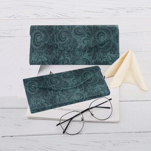 Denim with vintage floral pattern, dark green teal Custom Foldable Glasses Case
