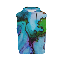 Blue green ink All Over Print Sleeveless Hoodie for Women (Model H15)
