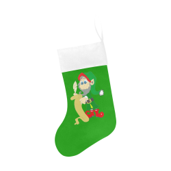 Christmas Elf Green/White Christmas Stocking