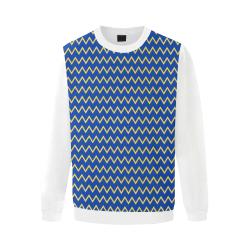 Chevron Jaune/Bleu Men's Oversized Fleece Crew Sweatshirt/Large Size(Model H18)
