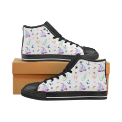 Nautical Pattern Women's Classic High Top Canvas Shoes (Model 017)