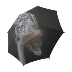 A lovely cute painted owl with a brown background Semi-Automatic Foldable Umbrella (Model U05)