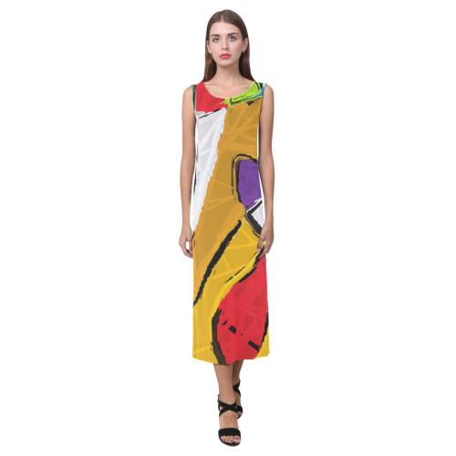 Yellow Abstract Art  8195 Phaedra Sleeveless Open Fork Long Dress (Model D08)