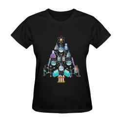 Oh Chemist Tree, Oh Chemistry, Science Christmas Black Sunny Women's T-shirt (Model T05)