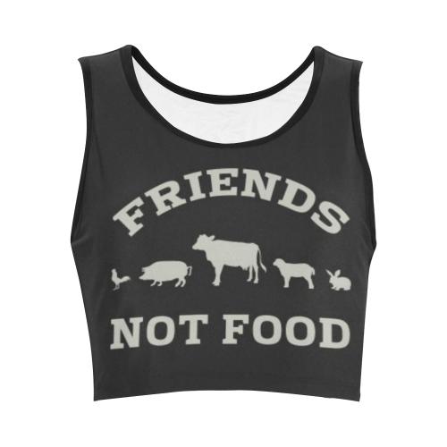 Friends Not Food (Go Vegan) Women's Crop Top (Model T42)