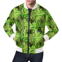 Tropical Jungle Leaves Camouflage All Over Print Bomber Jacket for Men (Model H19)