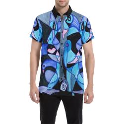 Blue Birds Men's All Over Print Short Sleeve Shirt (Model T53)