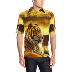Tiger and Sunset Men's All Over Print Polo Shirt (Model T55)