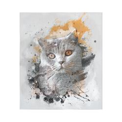 "cat kitty art #cat #kitty Cotton Linen Wall Tapestry 51""x 60"""