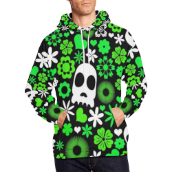 Skull And Floral Pattern All Over Print Hoodie for Men/Large Size (USA Size) (Model H13)