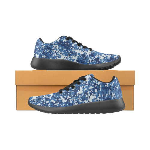 Digital Blue Camouflage Men's Running Shoes (Model 020)